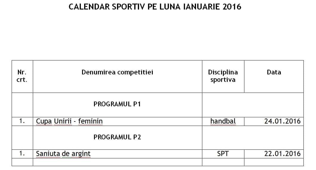 Calendar Ianuarie 2016