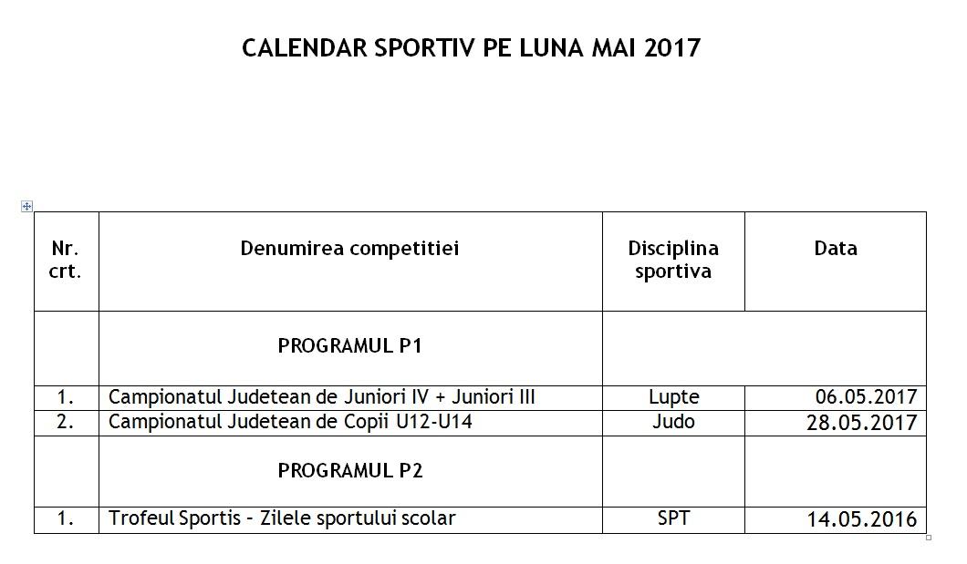 Calendar mai 2017