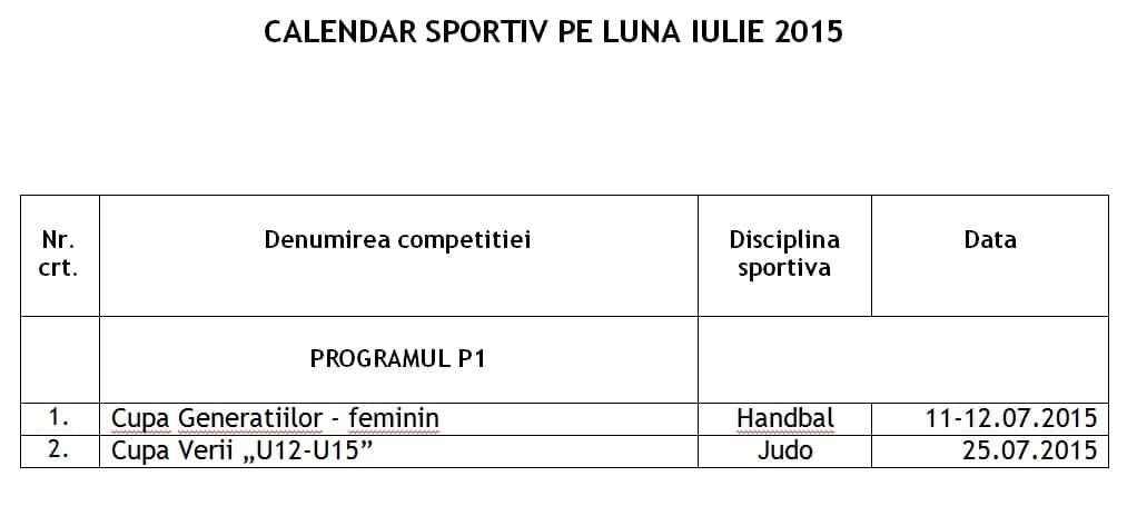 Calendar sportiv luna iulie 2015