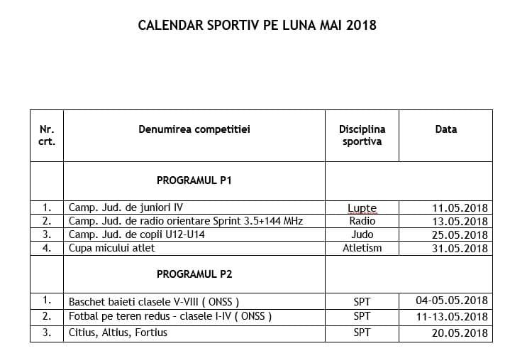 competitii mai 2018