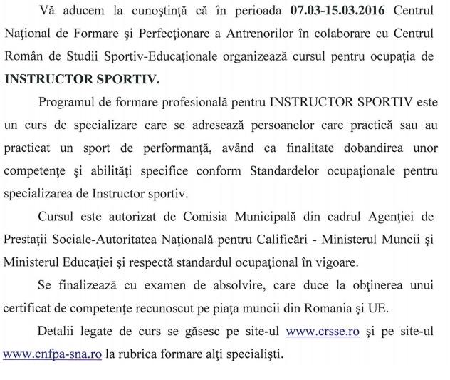 curs inspector sportiv